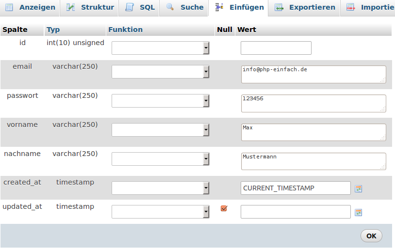 Tabellen verwalten mit phpmyadmin mysql tutorial php for Tabelle mit 9 spalten