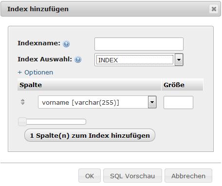 phpMyAdmin - Neuer Index